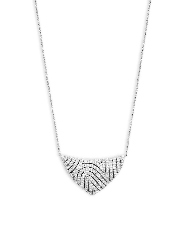 Adriana Orsini Zen Pave Pendant Necklace in Silver (Metallic)
