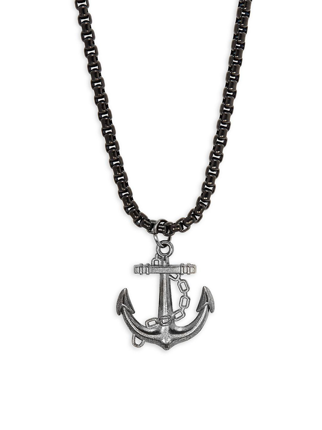 Perepaix Stainless Steel Anchor Pendant Necklace in Black