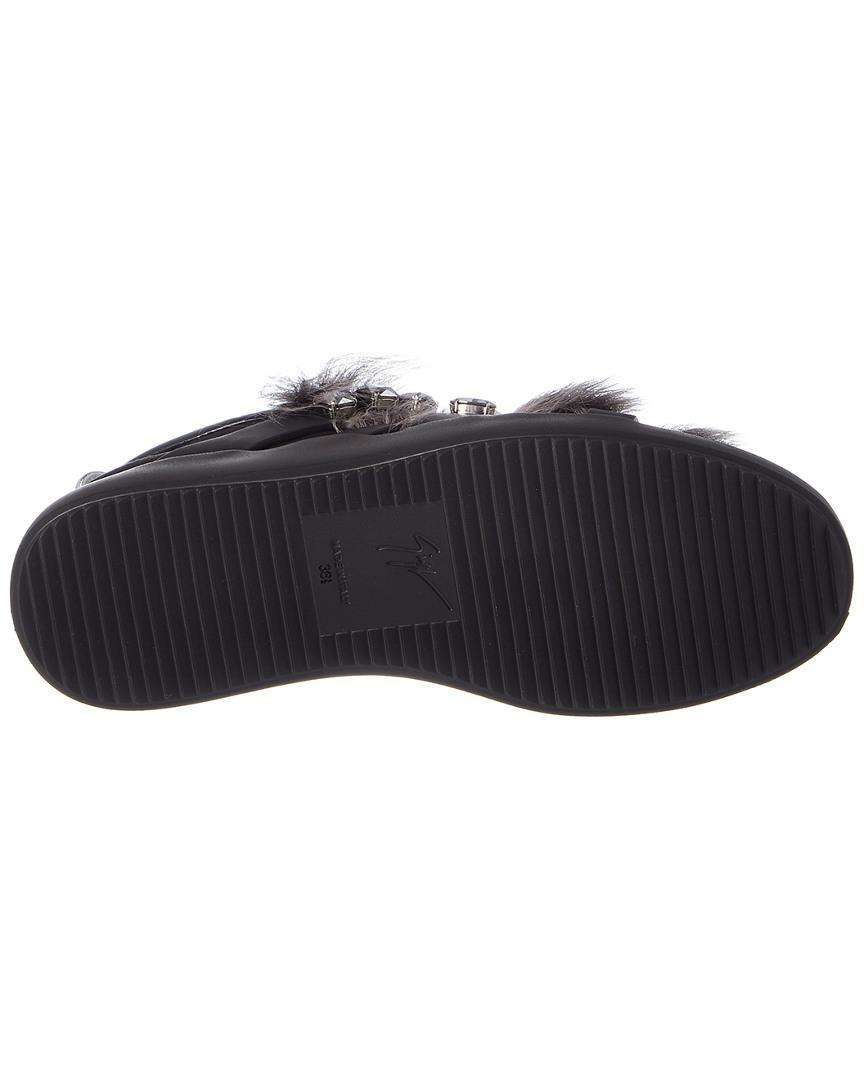 Giuseppe Zanotti Fur Trim & Crystal Embellished Leather Sneaker in Black