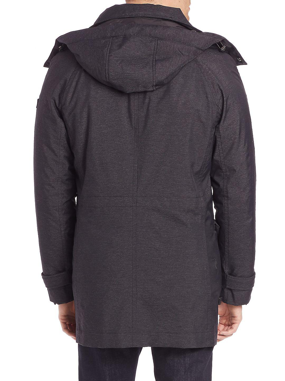 Tumi Synthetic Twill Textured Zip-front Jacket in Charcoal (Grey) for Men