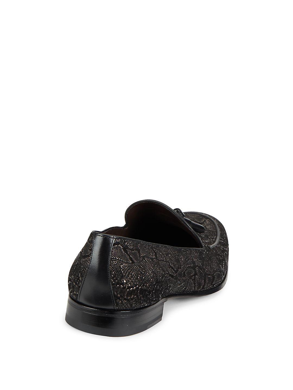 Mezlan Leather Textured Tassel Loafers in Black for Men