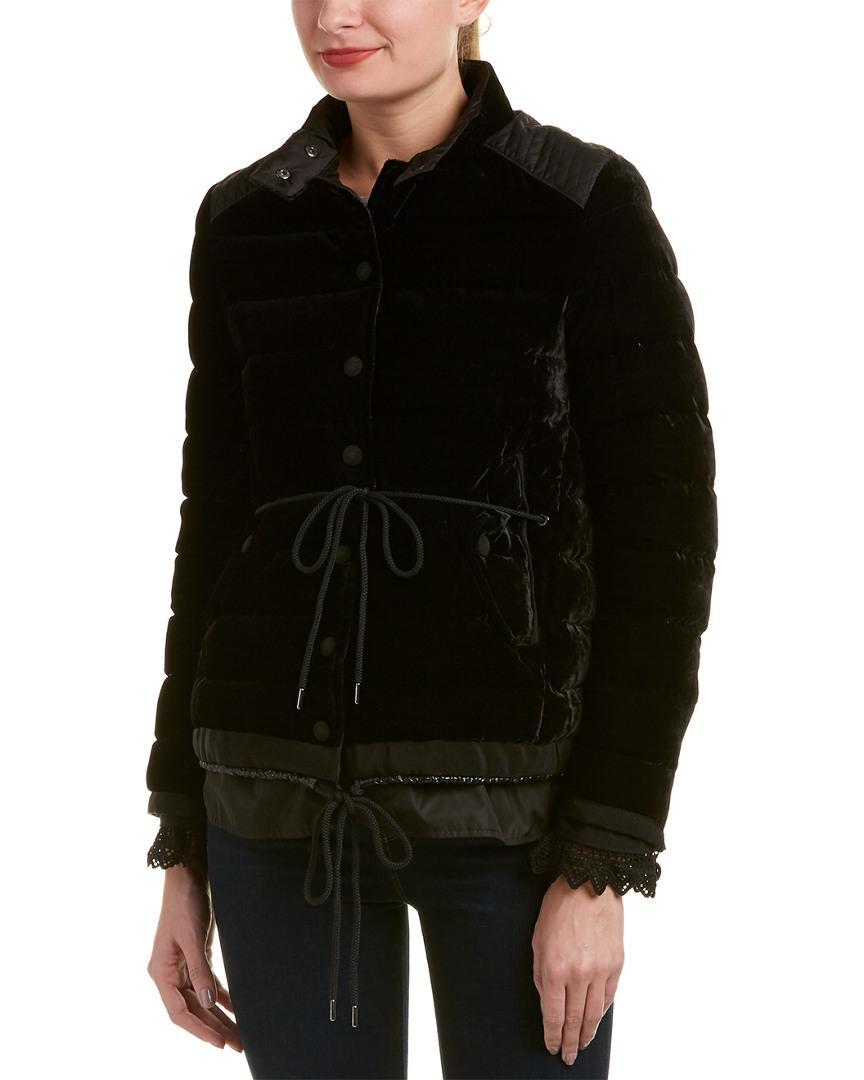 91f6b419e Moncler Black Beatrice Velvet Quilted Jacket