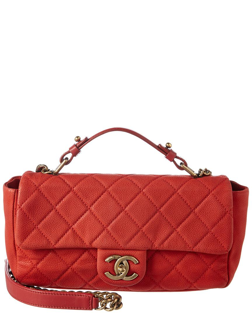 ea89c13442ac25 Chanel Red Quilted Soft Caviar Leather Small Chic Flap Bag in Red ...
