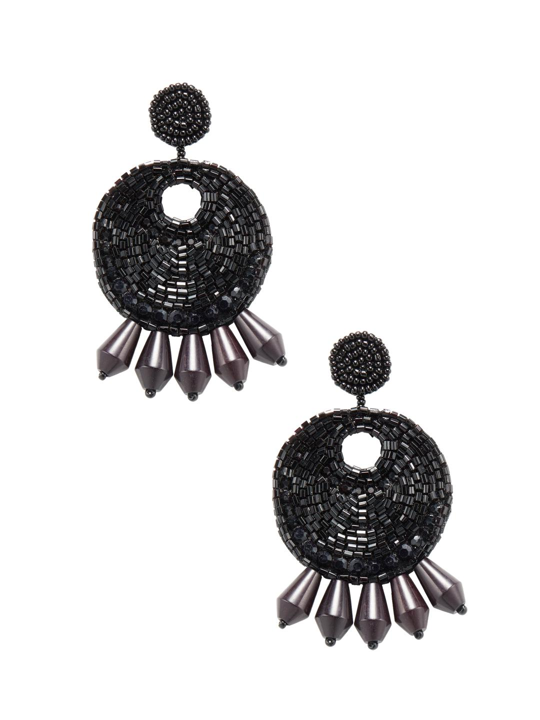 Kenneth Jay Lane Black Seed Bead Round Gypsy Hoop With Drops Clip Earring Black 5R7IMHG