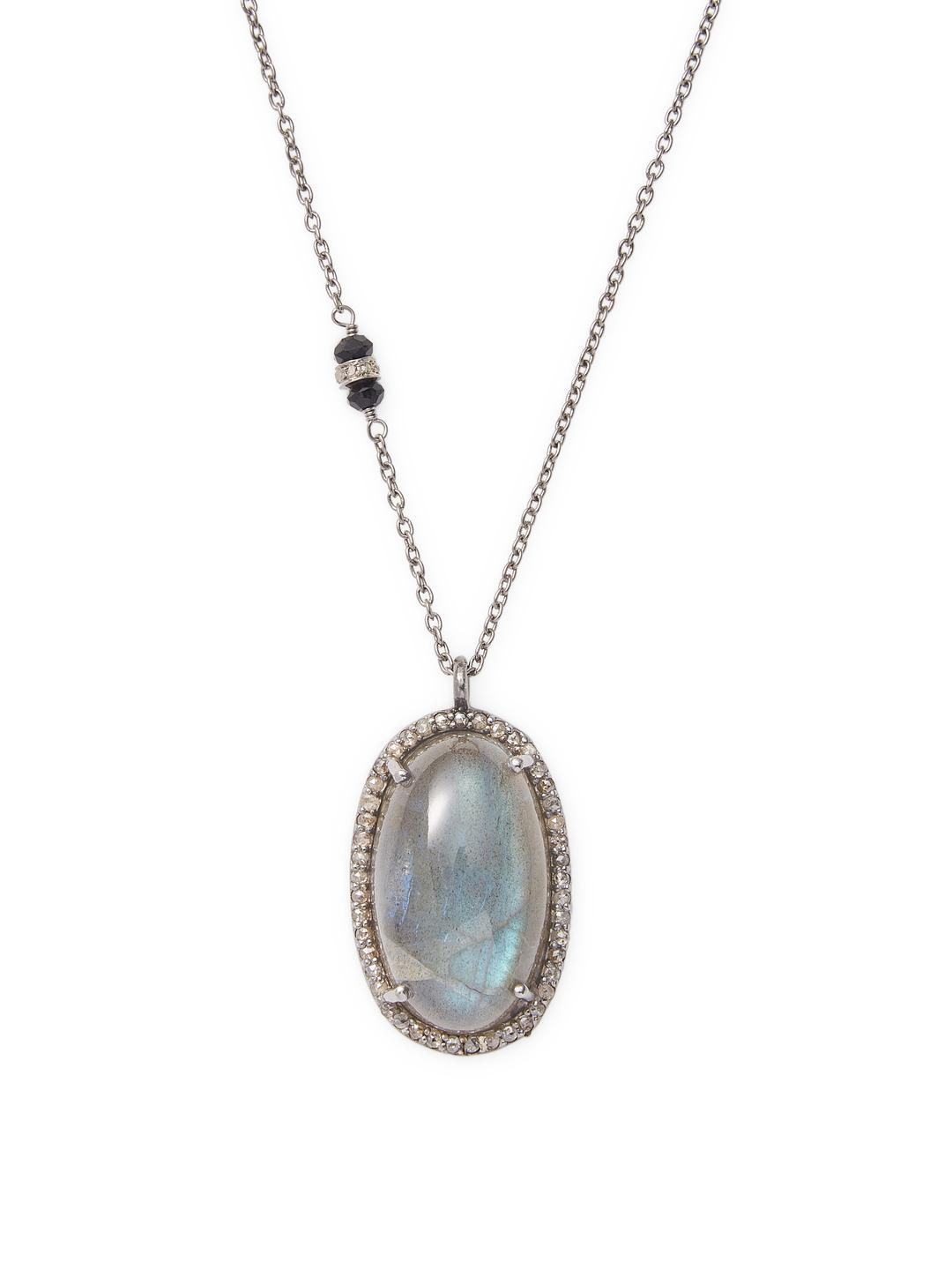 Bavna Labradorite and Turquoise Pendant Necklace