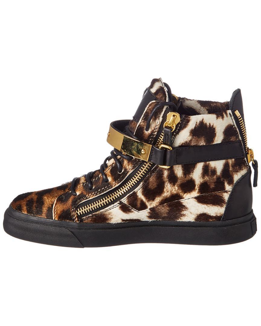 Giuseppe Zanotti Leopard Haircalf High-top Sneaker in Brown