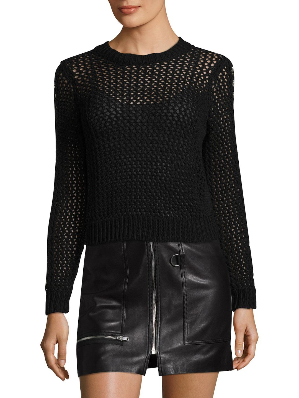 10 crosby derek lam Cropped Cotton Sweater in Black | Lyst
