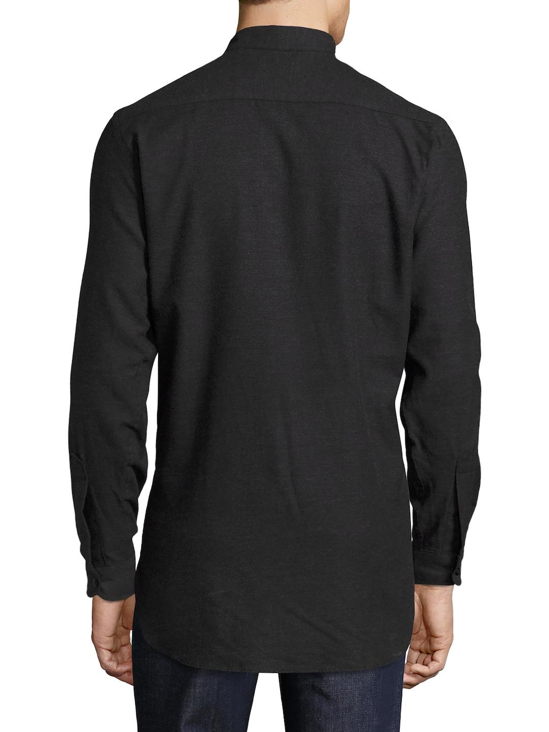 Naked & Famous Cotton Long Brushed Twill Sportshirt in Black for Men