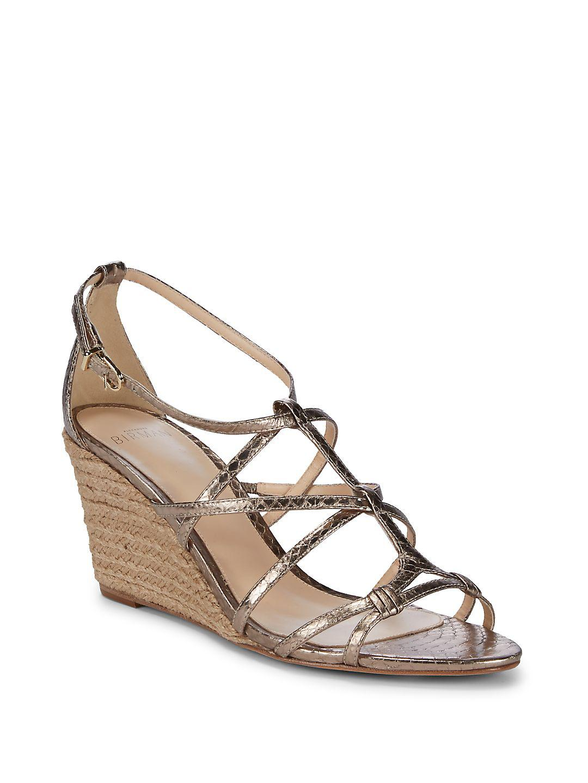 50ddf08adce7 Lyst - Alexandre Birman Watersnake Wedge Sandals