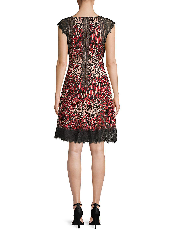 Tadashi Shoji Animal Print Fit-&-flare Dress in Red Rose (Red)