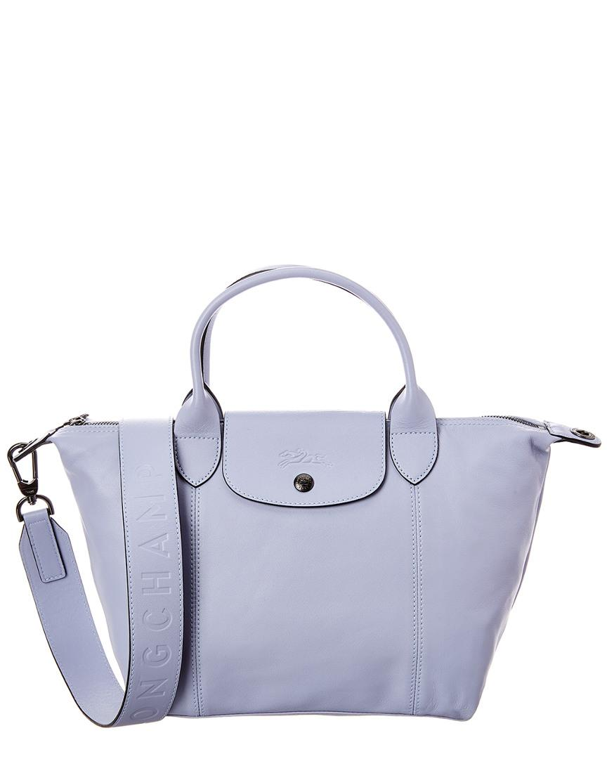 Le Pliage Cuir Small Leather Logo Strap & Short Handle Tote
