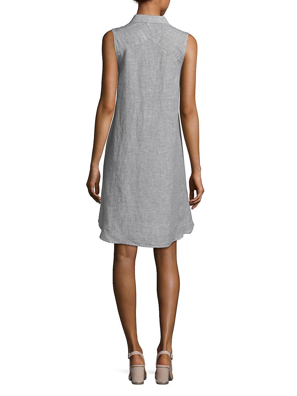 981840dc12 Lyst - Saks Fifth Avenue Sleeveless Linen Shirt Dress