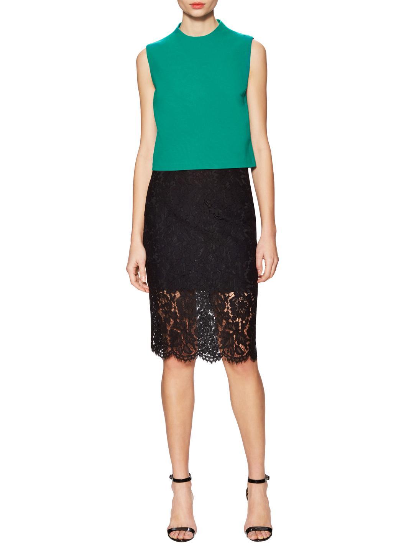 Diane von Furstenberg Synthetic Tali Jersey Mock Neck Top in Green