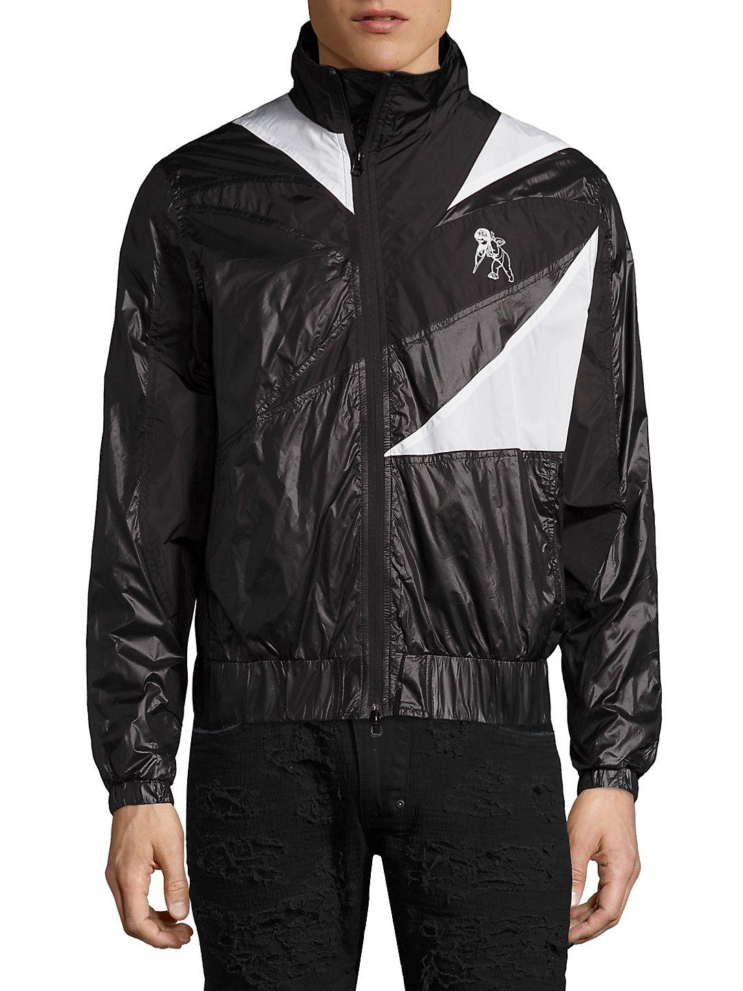 PRPS Synthetic Patchwork Tech Wind-resistant Jacket With Drawcord Back in Black for Men