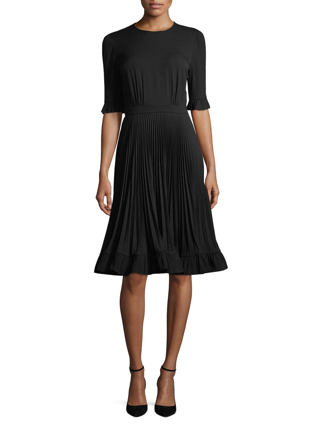 With Paypal Cheap Online pleated flared dress - Black Prada Discount From China Free Shipping Cheap Quality Footlocker For Sale X20RGDq