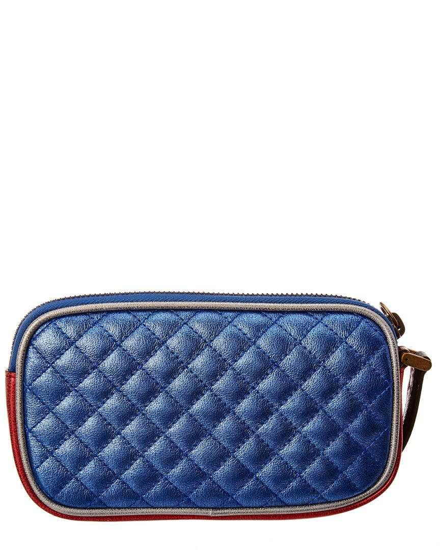 d6945a9aae4 Lyst - Gucci Trapuntata Leather Wrist Wallet in Blue