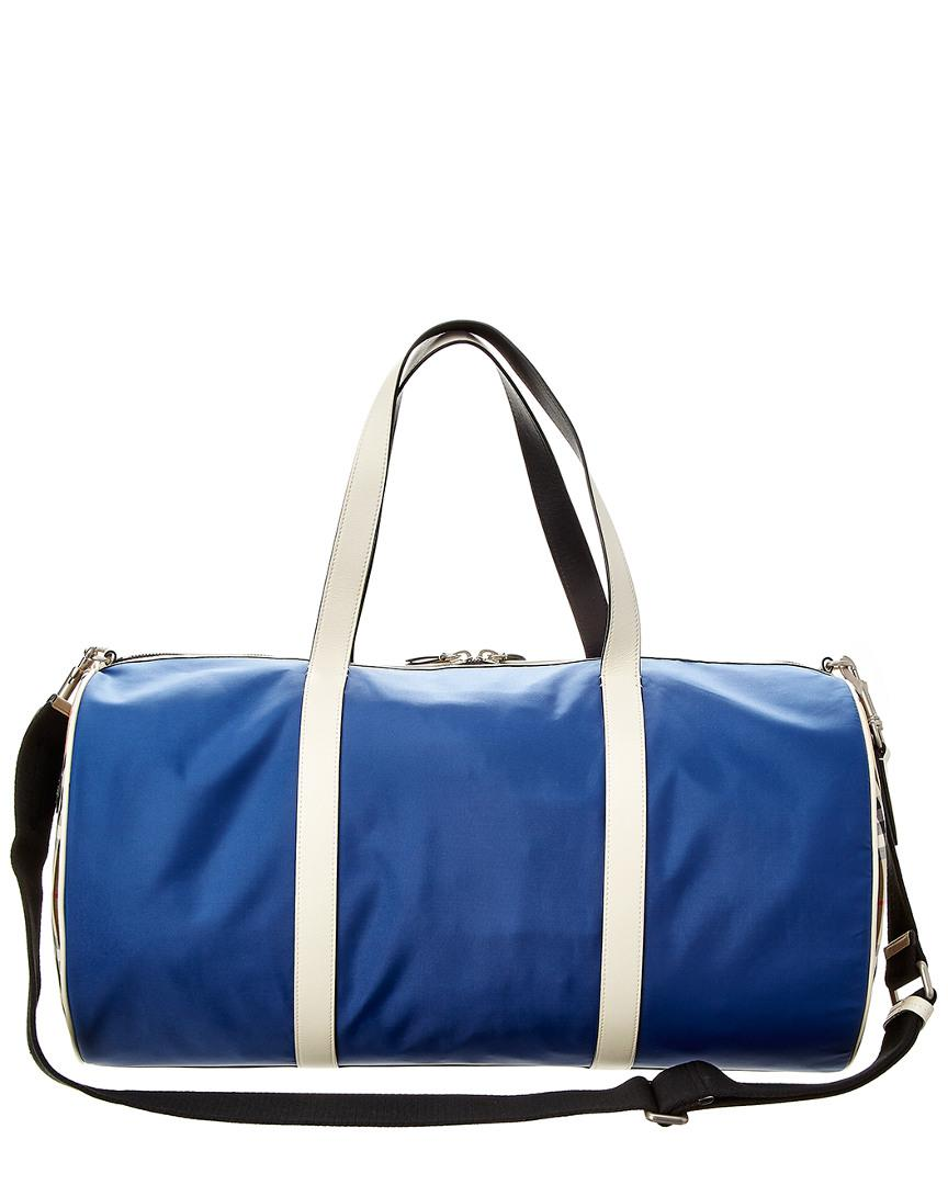 Lyst - Burberry Large Vintage Check Canvas   Leather Barrel Bag in Blue for  Men dfb7be5657973