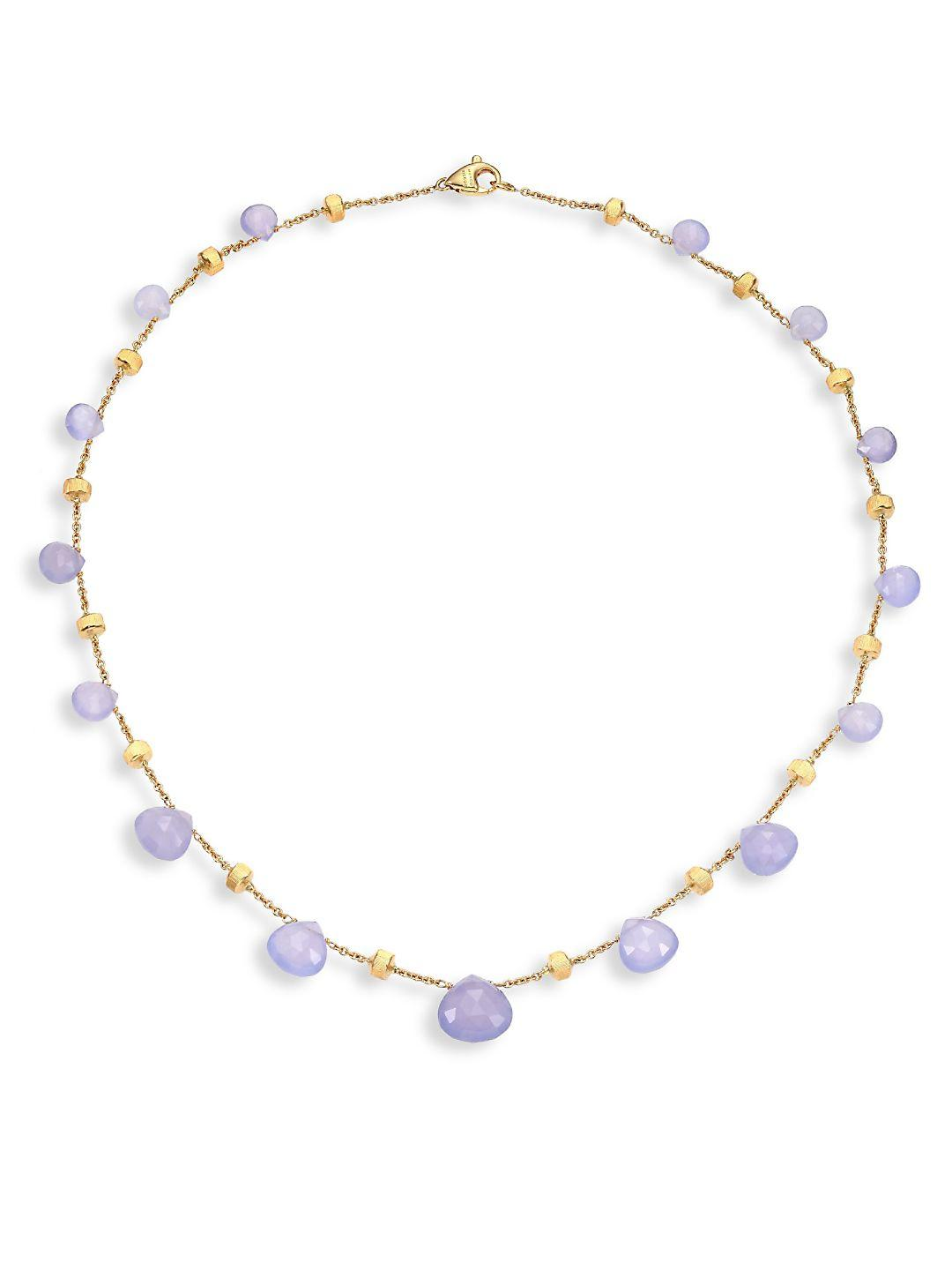 Marco Bicego Paradise Chalcedony & 18k Yellow Gold Graduated Short Necklace in Metallic