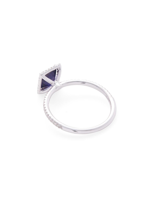 Meira T 14k White Gold, Iolite & 0.20 Total Ct. Diamond Square Ring in Metallic