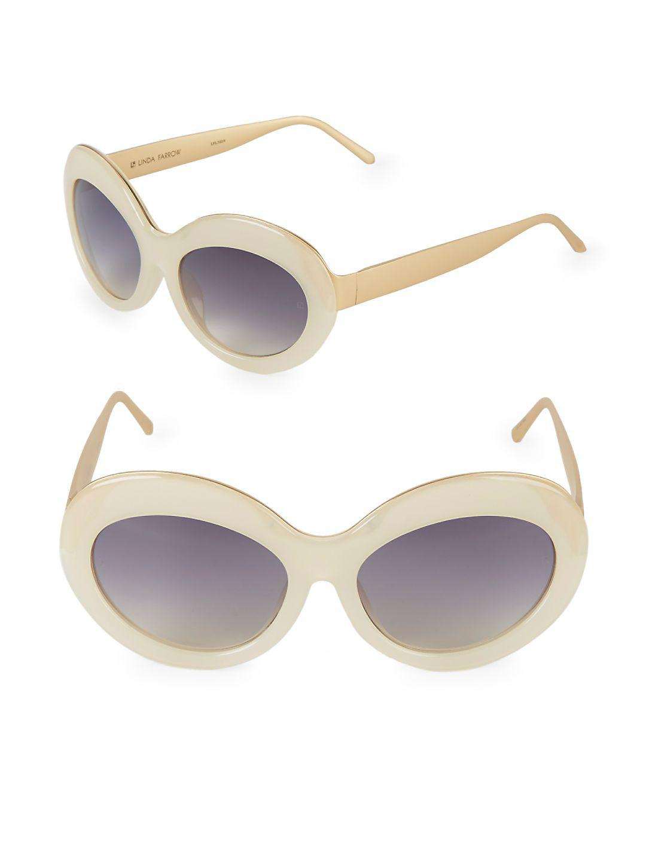 Linda Farrow 57mm Butterfly Sunglasses in Yellow