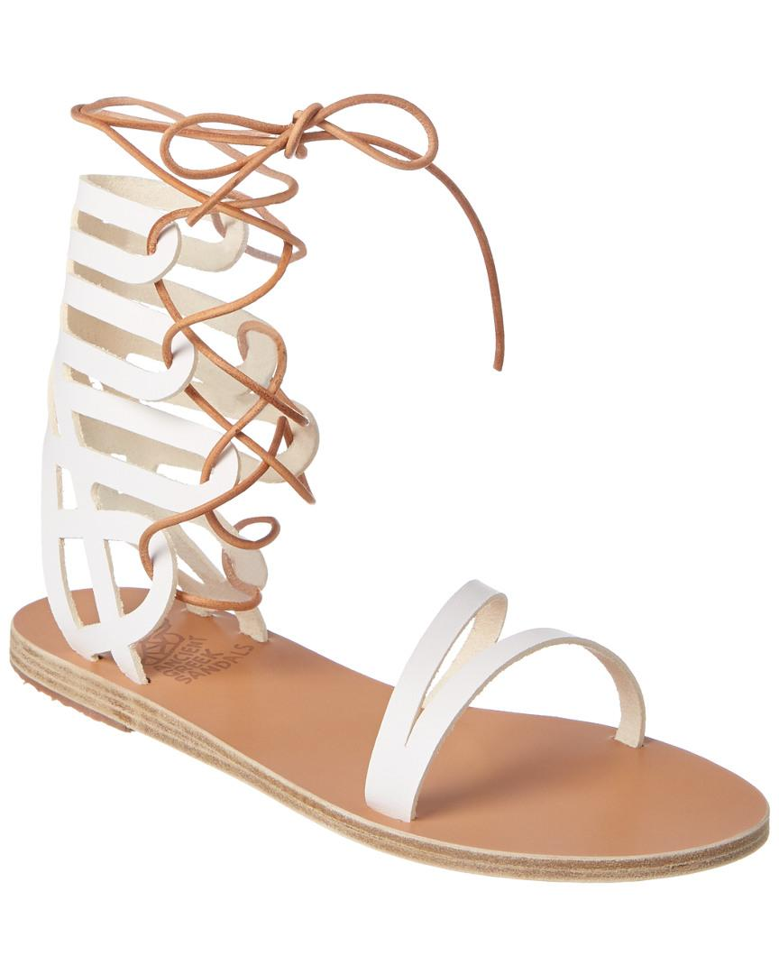 d6601e61c Ancient Greek Sandals. Women s White Sandals Dione Ankle Wrap Leather Sandal