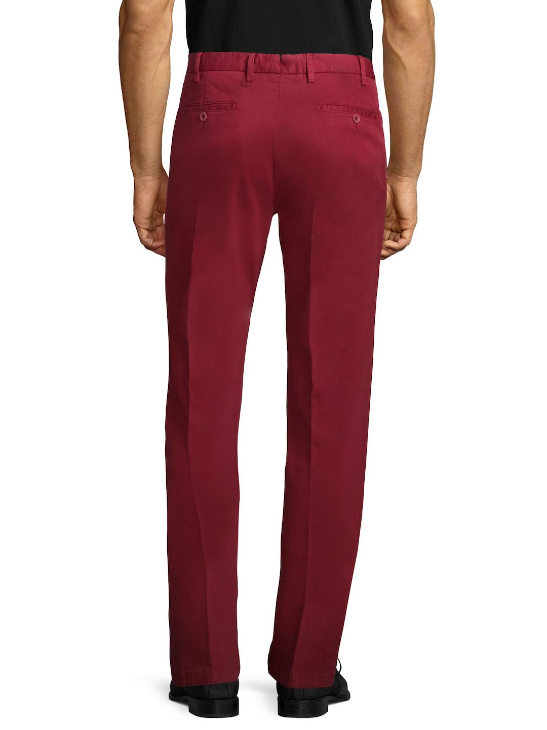 Isaia Cotton Straight Leg Trousers in Maroon (Red) for Men
