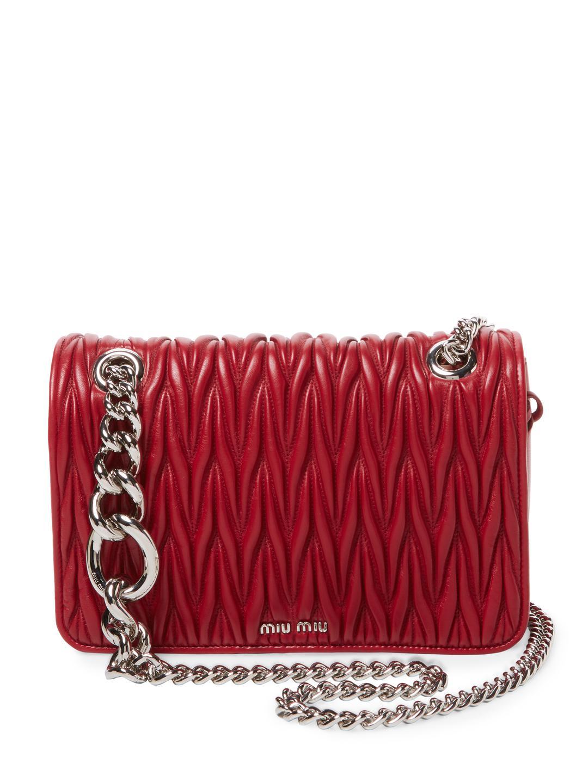 d112f20569a4 Lyst - Miu Miu Club Matelassé Leather Shoulder Bag in Red