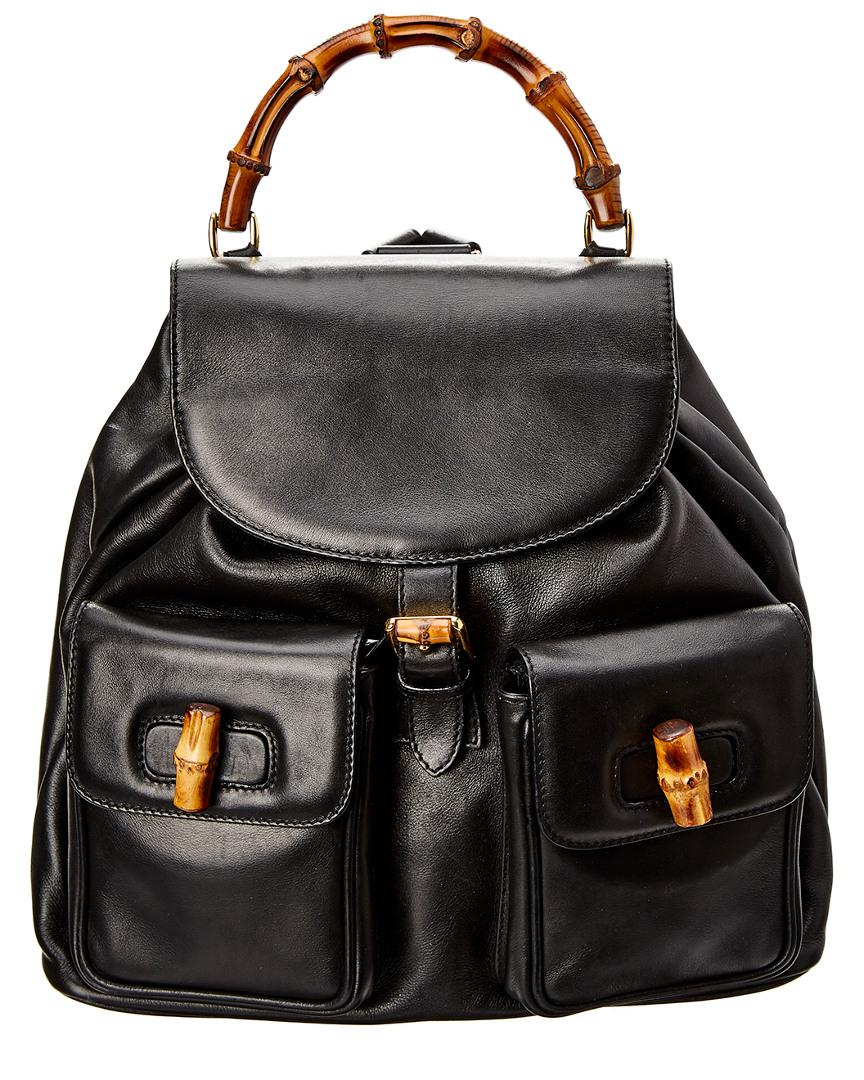 290b337a3434 Gucci Limited Edition Black Leather Bamboo Backpack in Black - Lyst