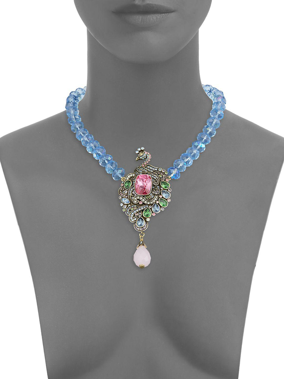 Heidi Daus Glass Crystal Necklace in Blue