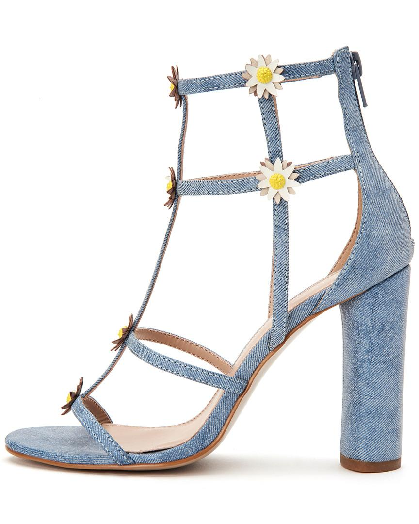 aef1a18dc0b Lyst - BCBGeneration Jordan Denim   Floral Caged Dress Sandals in Blue -  Save 50%