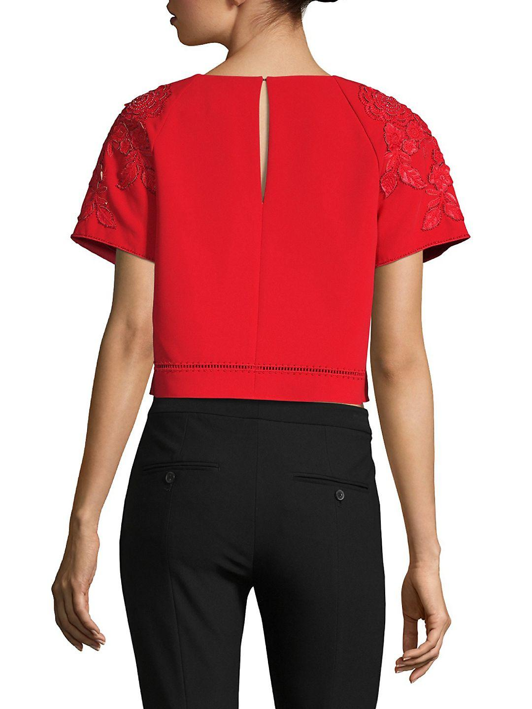 Marchesa notte Synthetic Floral Crop Top in Red