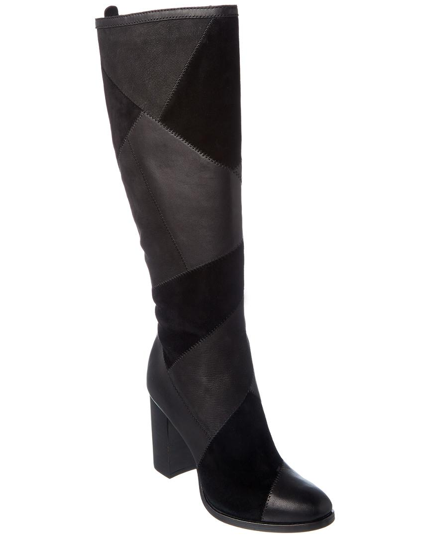 Frye Claude Patchwork Leather & Suede Boot in Black
