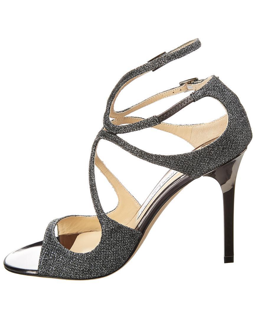 7679ecebdd00 Lyst - Jimmy Choo Lang 100 Glitter Lame Sandal in Metallic