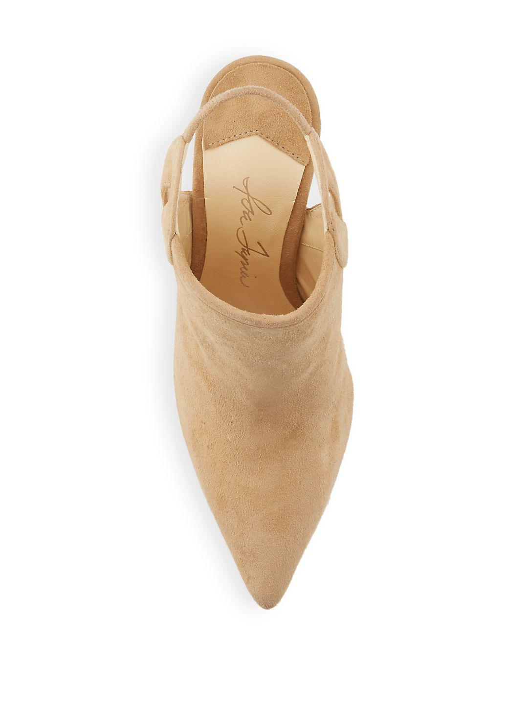 Isa Tapia Slip-on Leather Stiletto Ankle Boots in Natural