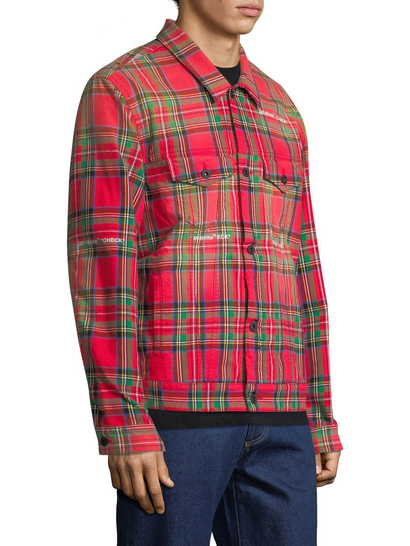 aab6618d159c Lyst - Off-White C O Virgil Abloh Tartan Print Trucker Jacket in Red ...