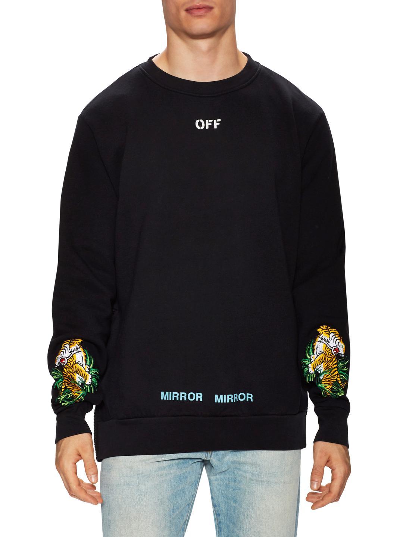 579db613 Off-White c/o Virgil Abloh Tiger Embroidered Crewneck Sweatshirt in ...
