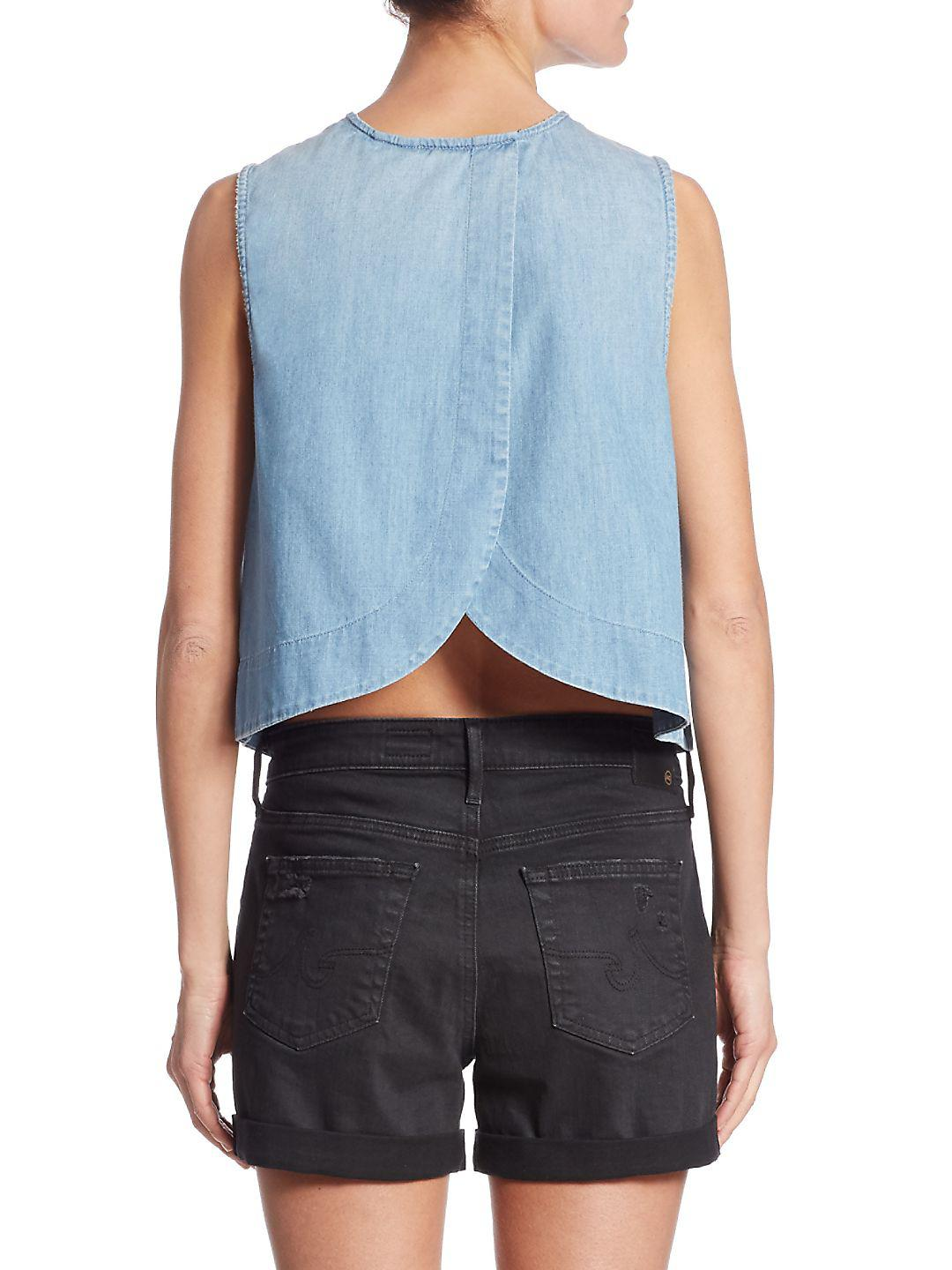 AG Jeans Cotton Lynn Chambray Shell Top in Blue