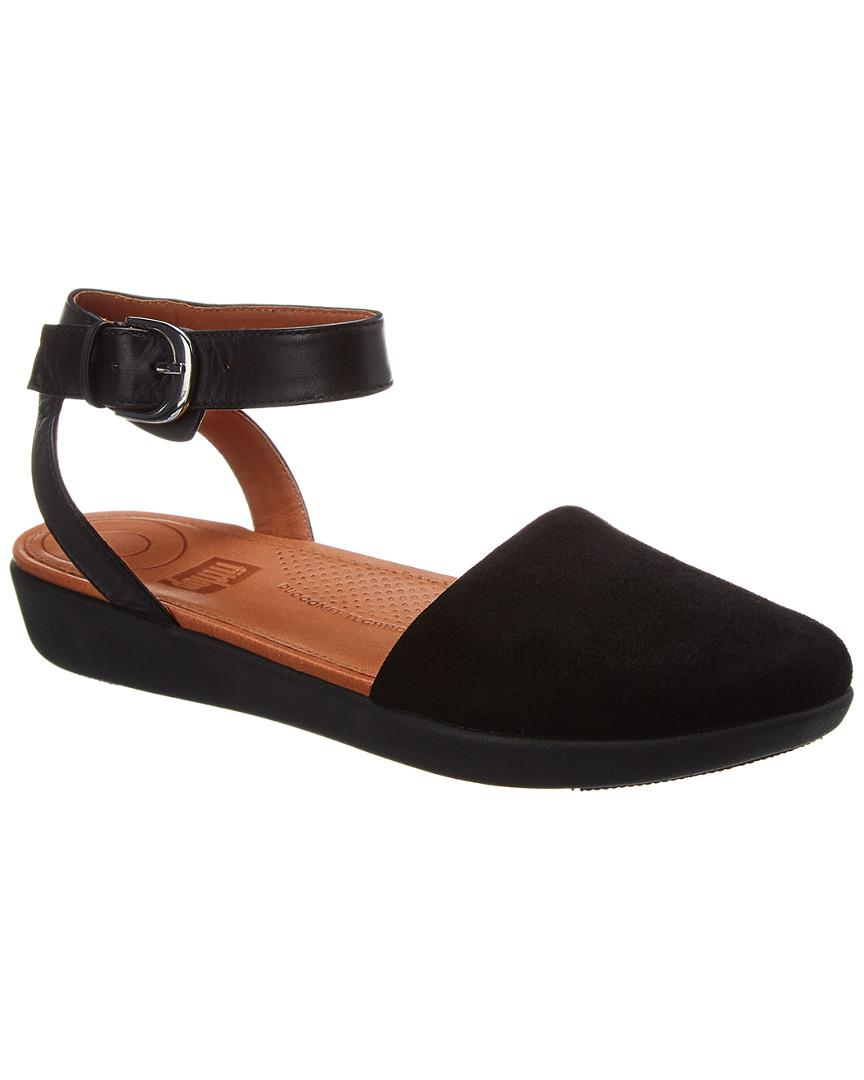 f084395a0 Fitflop Cova Suede & Leather Flat in Black - Lyst