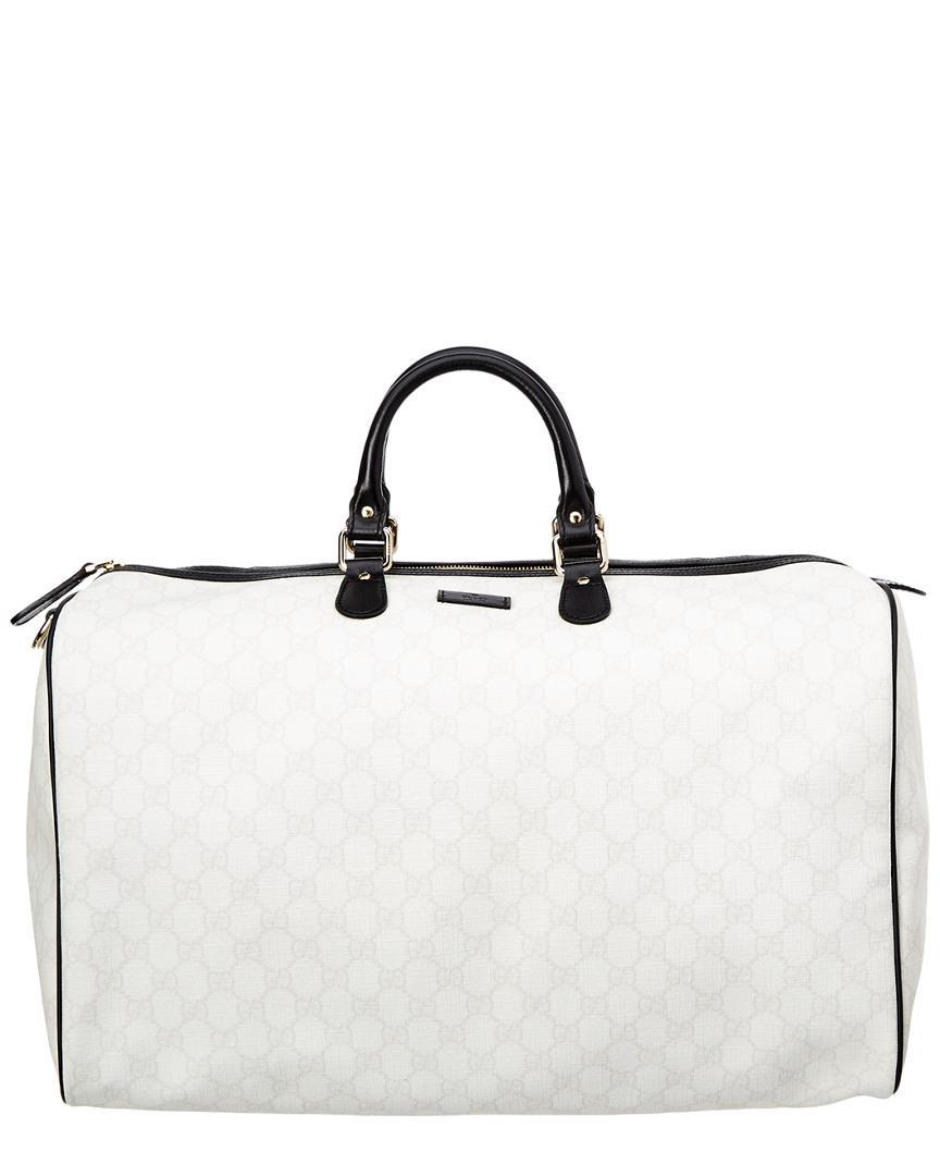 263c0f514609e6 Gucci Limited Edition White Gg Supreme Canvas & Leather Joy Duffle ...