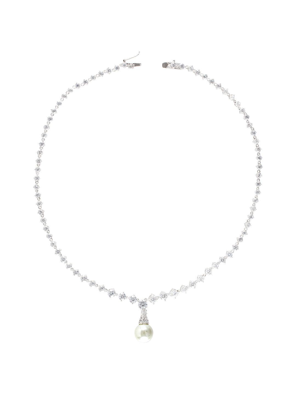 CZ by Kenneth Jay Lane Cz & Pearl Drop Necklace in Metallic