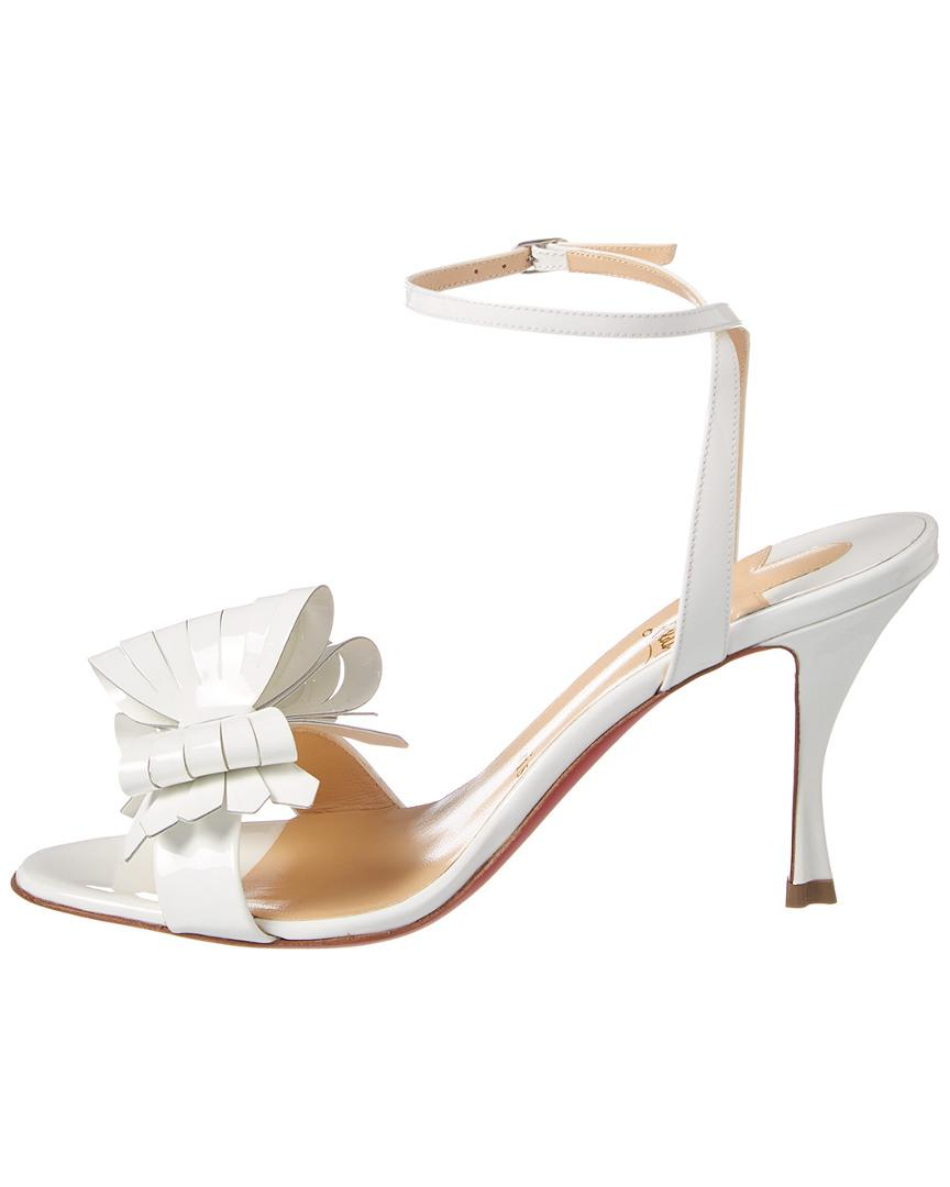 fa2bbff6c2f Christian Louboutin White Miss Valois 85mm Patent-leather Sandals