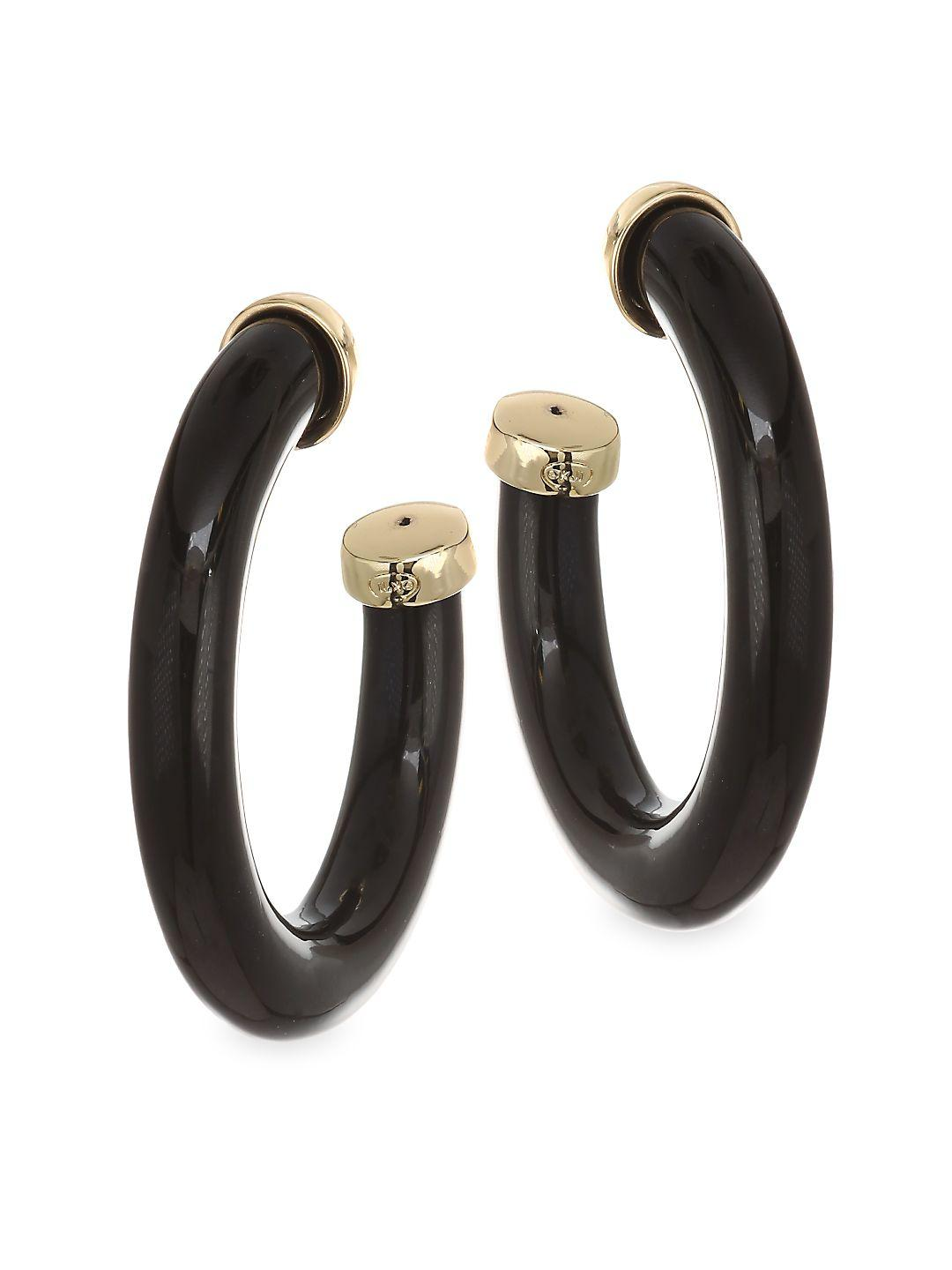 Kenneth Jay Lane Large Polished Hoops in Black