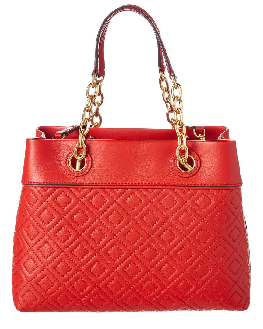 499f6ec27c08 Lyst - Tory Burch Fleming Small Leather Tote in Red - Save 14%