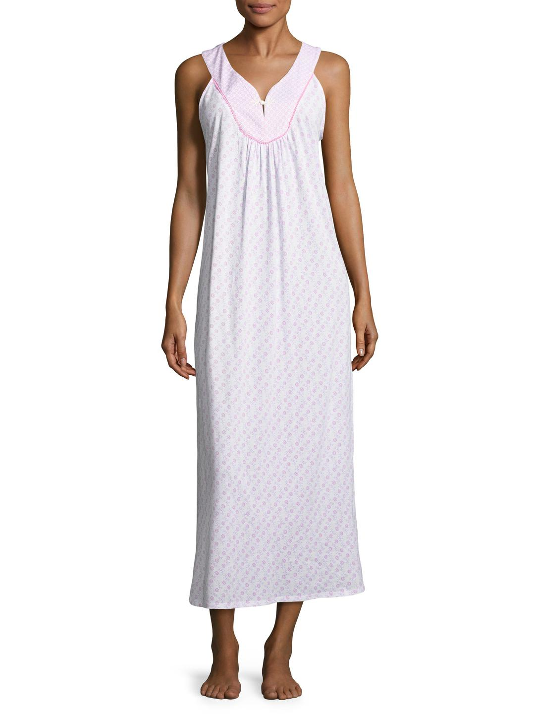 Lyst - Midnight By Carole Hochman Cotton Printed Long Gown in Purple