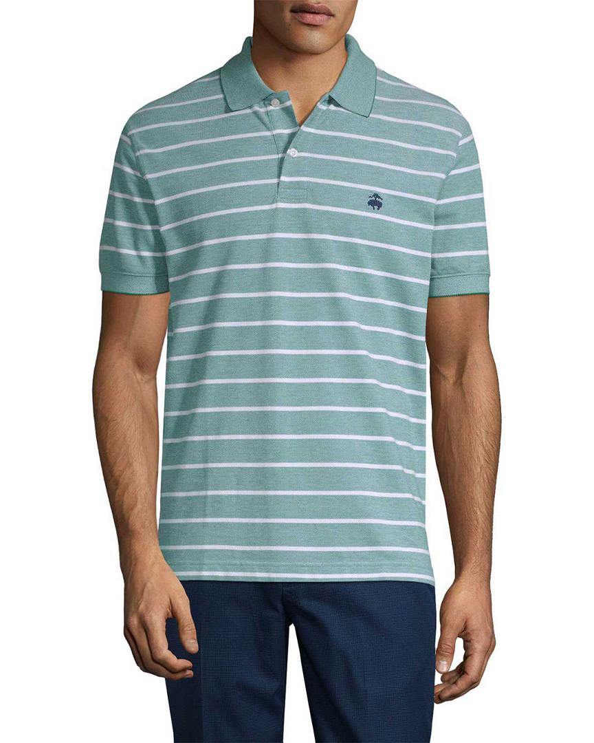 Brooks Brothers Cotton Ox Pique Fine Stripe Slim Fit Polo Shirt in Green for Men