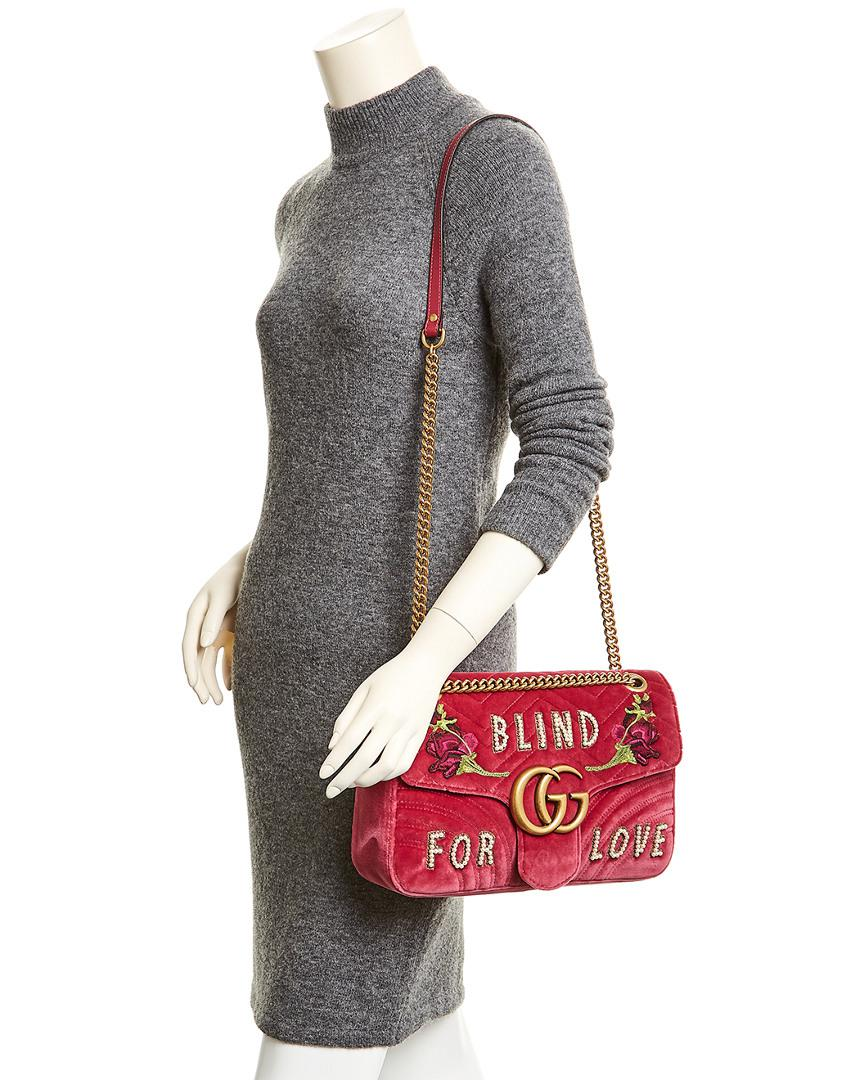 912a9d7b669 Lyst - Gucci Gg Marmont Embroidered Velvet Blind For Love Shoulder ...