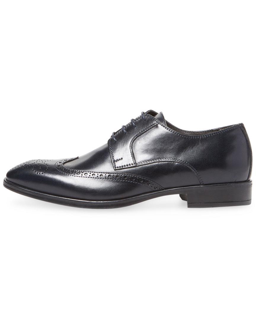 A.Testoni A. Testoni Leather Derby Shoe in Navy (Blue) for Men