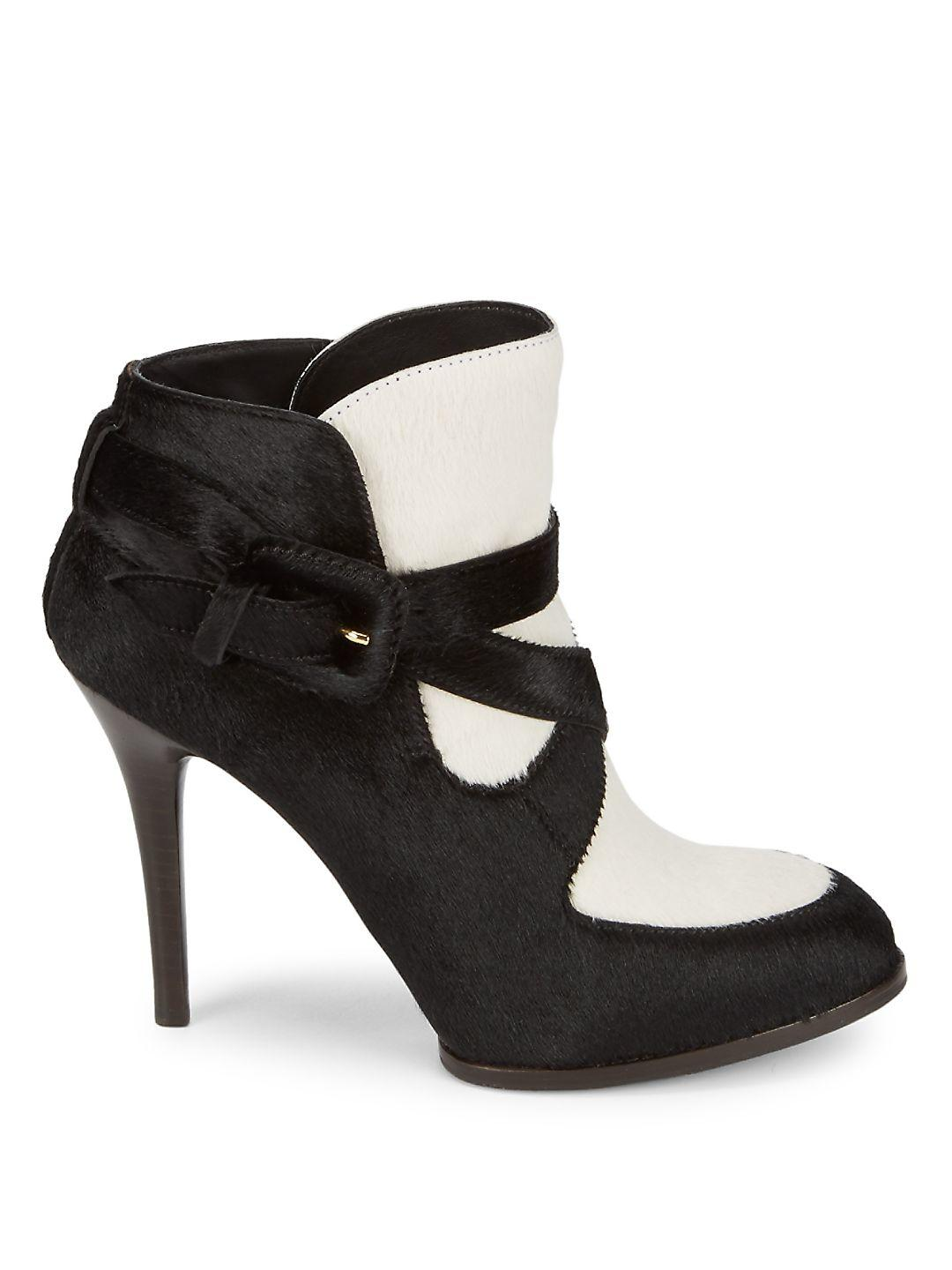 Tod's Leather Strappy Calf Hair Boots in Black