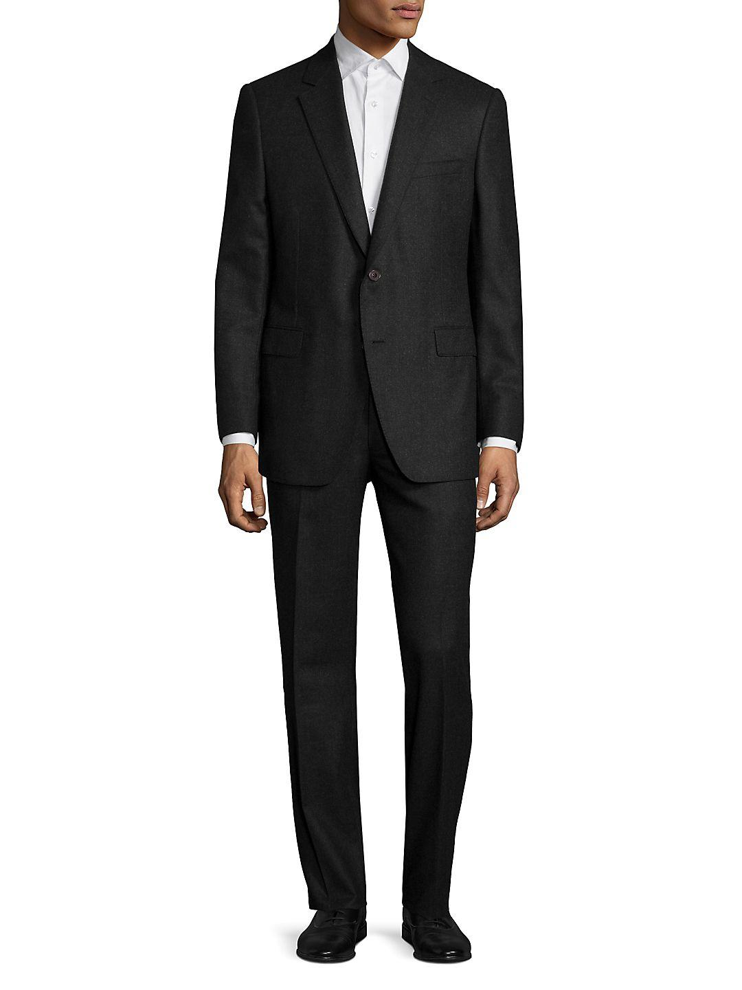 Saks Fifth Avenue Solid Wool Suit in Charcoal (Grey) for Men