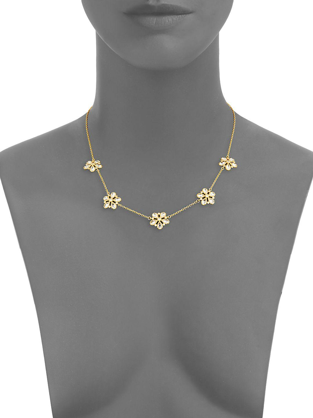 Freida Rothman Classic Cz & 14k Gold-plated Sterling Silver Floral Station Necklace in Metallic